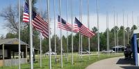 Image of US flags at half mast in a park